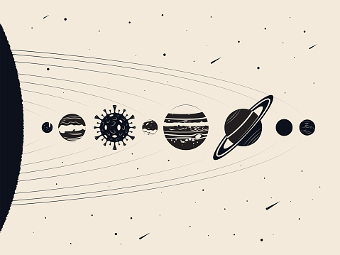 Retro cartoon solar system planets. Planet earth looks like a coronavirus molecule (Covid-19).
