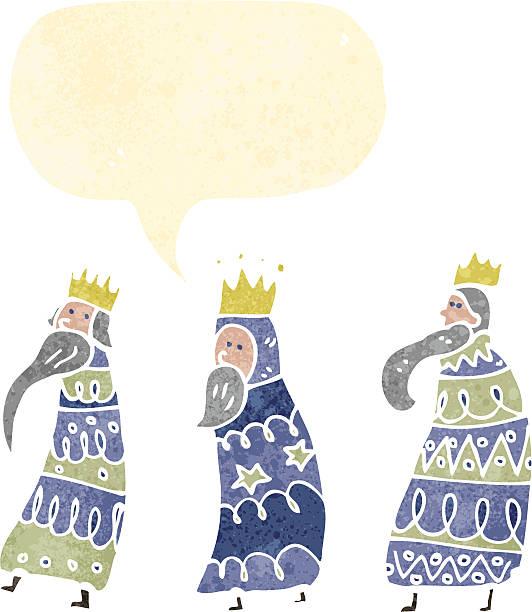 retro cartoon three kings with speech bubble vector art illustration