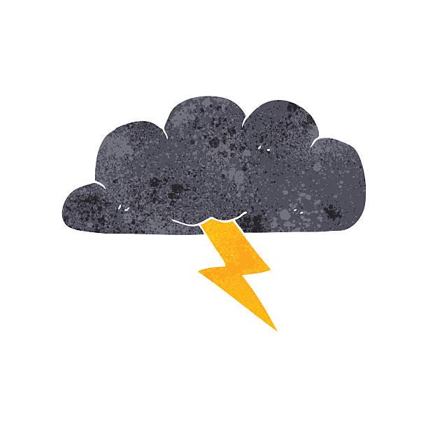 retro cartoon thundercloud vector art illustration