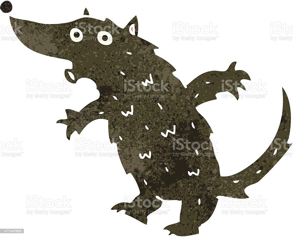 retro cartoon wolf vector art illustration