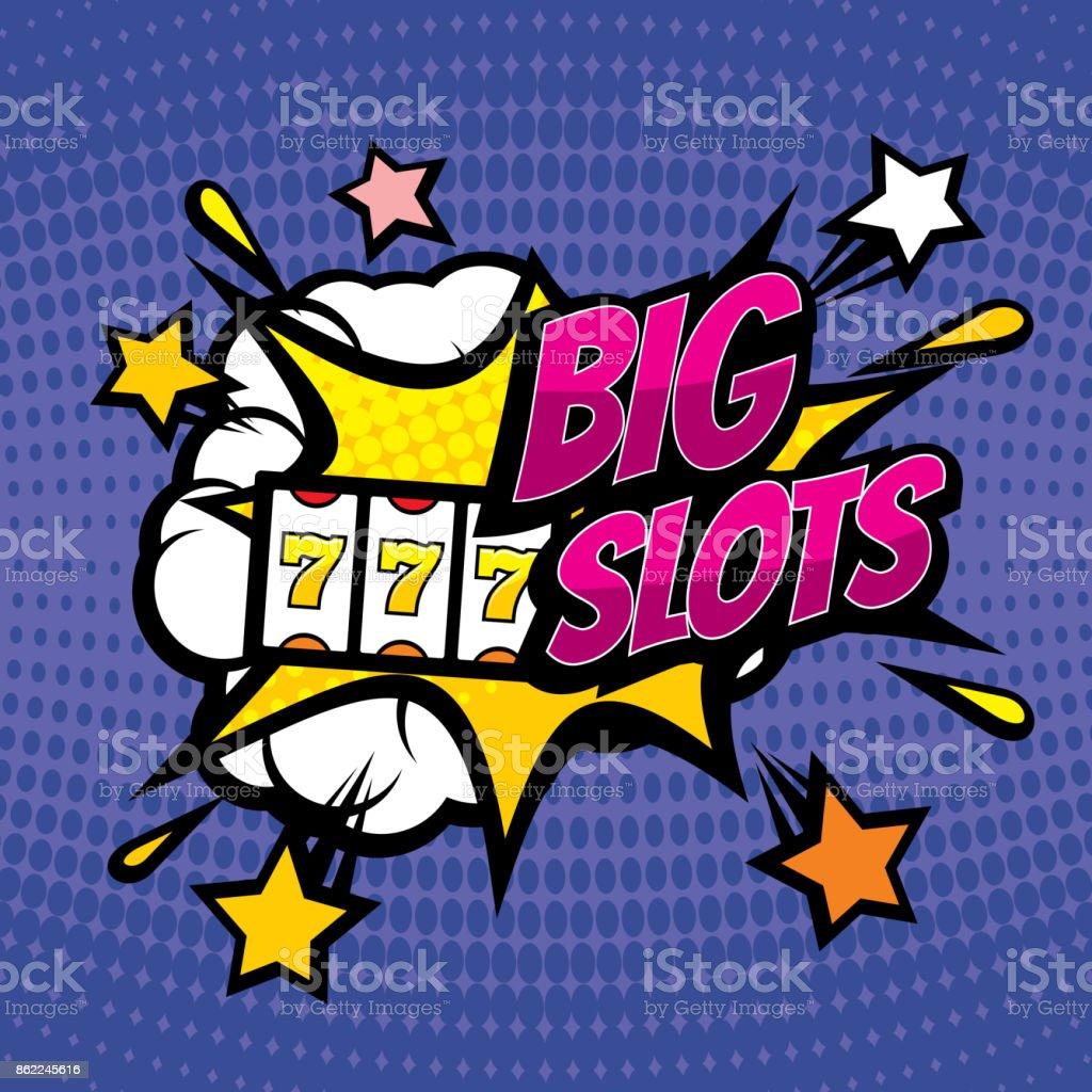 BIG SLOTS retro casino gambling vector background in pop art comic style vector art illustration