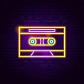 Retro Cassette Neon Sign. Vector Illustration of Music Promotion.