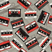 Background of retro cassette. Seamless vector pattern
