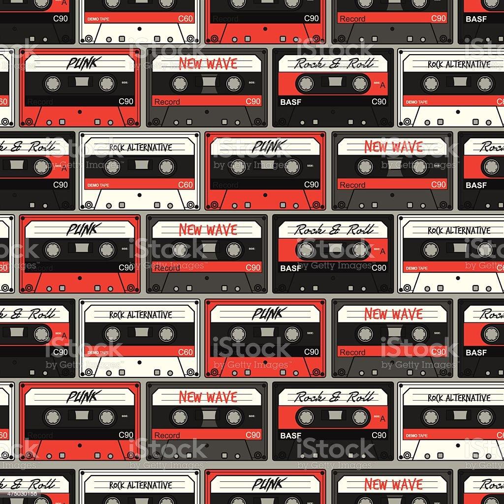 Retro Cassette seamless pattern vector art illustration