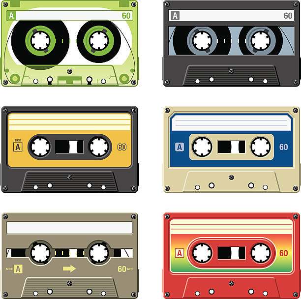 ilustrações, clipart, desenhos animados e ícones de retrô cassete fitas com uma variedade de cores e etiquetas - fita cassete