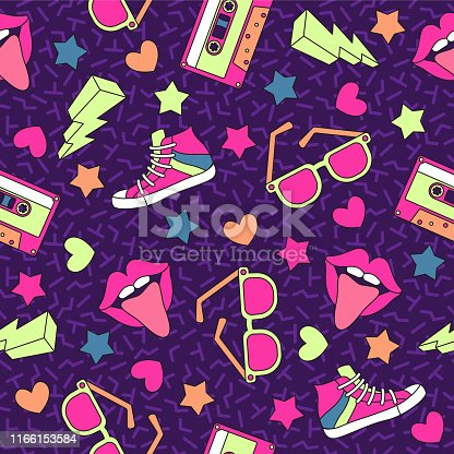 istock Retro cassettes pattern. Vintage cassette seamless background, stereo record media device. Music disco party 80s, 90s vector texture 1166153584