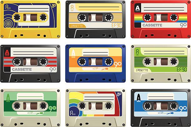 ilustrações, clipart, desenhos animados e ícones de fitas retrô - fita cassete