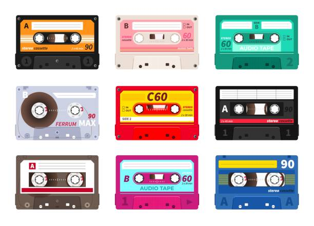 retro cassettes. vintage 1980s music tape, dj rave party mix, realistic stereo record set. vector old school music cassette - record analog audio stock illustrations