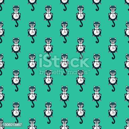 istock Retro Cat Wall Clock Pattern 1306013957