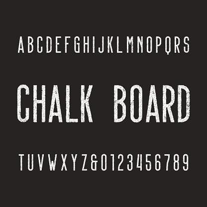 Retro chalk board alphabet font.