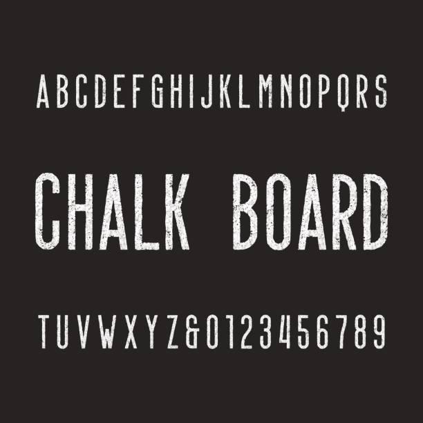 stockillustraties, clipart, cartoons en iconen met retro krijt bestuur alfabet lettertype. - bord bericht