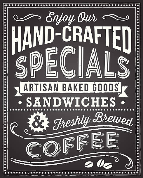 Retro chalkboard background with editable text Retro and hand-drawn vintage chalkboard background.  File is layered, and each object is grouped separately for easy editing.  Texture can be removed. cafe stock illustrations