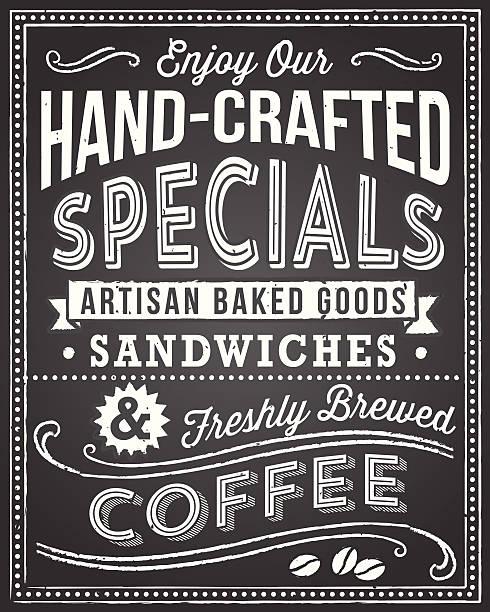 retro-tafel hintergrund mit text bearbeiten - café stock-grafiken, -clipart, -cartoons und -symbole