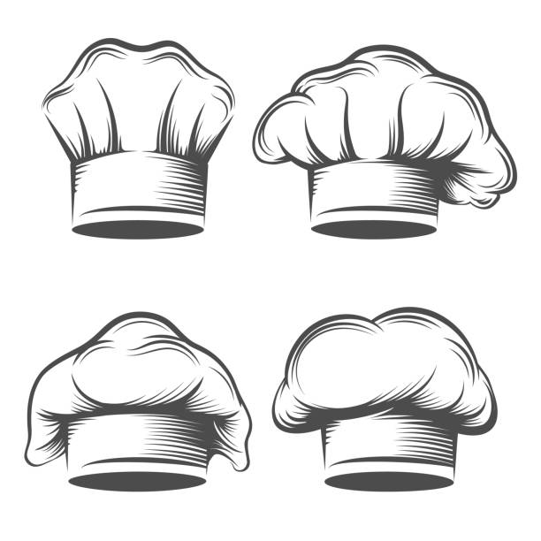 Retro chef has Retro chef hat. Vintage chefs toque set engraving vector illustration, hand drawn style cook or kitchener hats closeup on white chef's hat stock illustrations