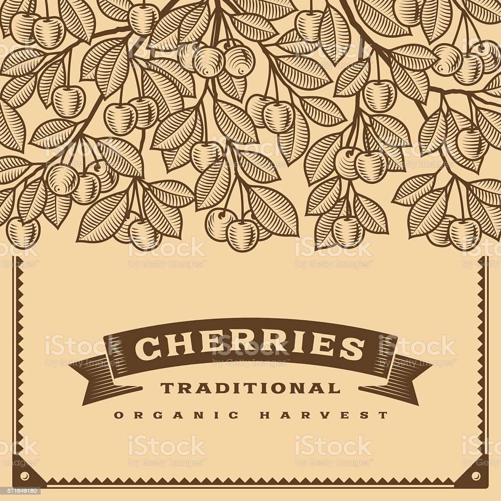 Retro cherry harvest card brown vector art illustration