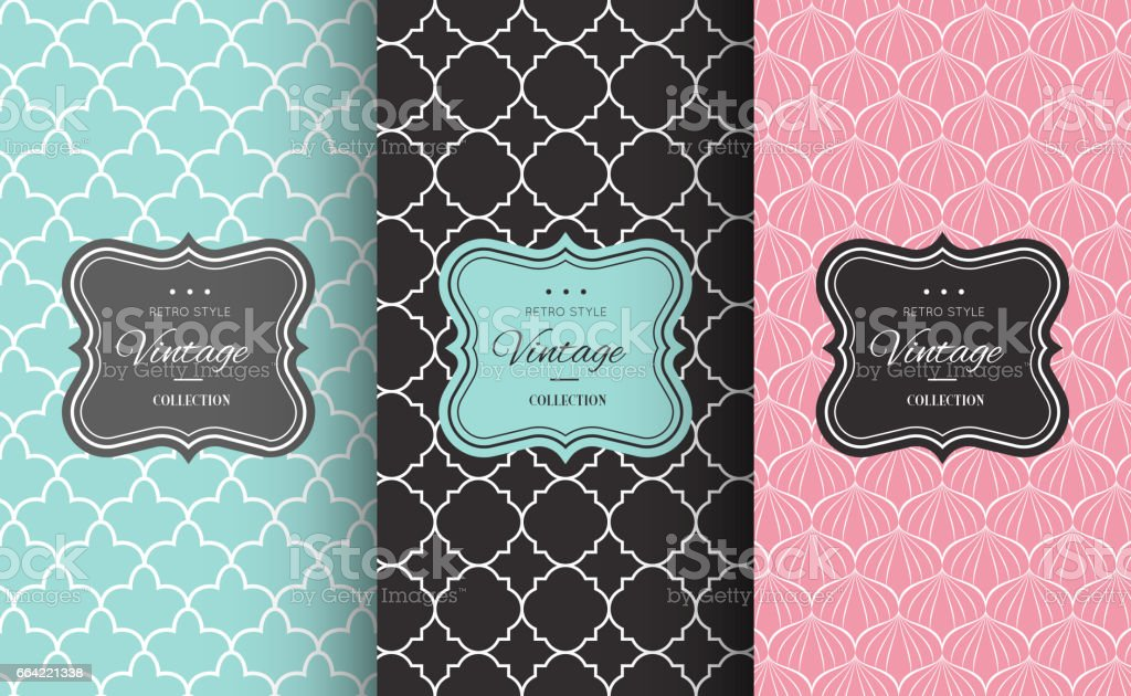 Retro chic seamless pattern vector art illustration