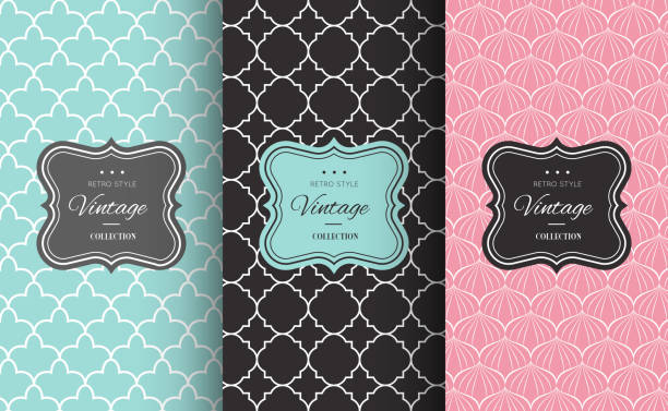 retro chic seamless pattern - fashion backgrounds stock illustrations, clip art, cartoons, & icons
