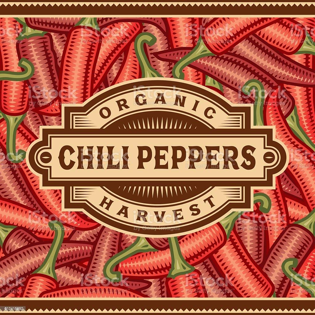 Retro Chili Pepper Harvest Label vector art illustration