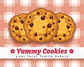 Cookies retro poster. Retro choco chip cookie vector illustration