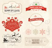 Christmas Retro Elements - layered and grouped  vector illustration, little grunged. Global colors used.