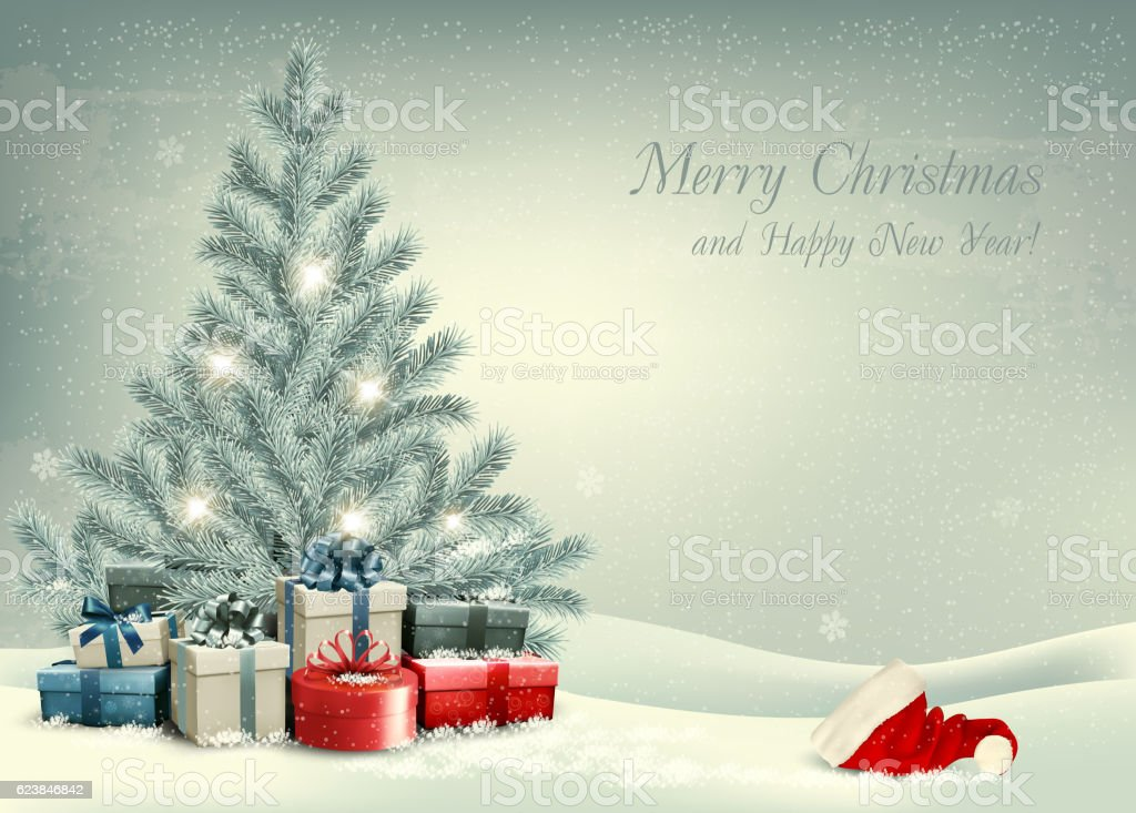 retro christmas background with a christmas tree and presents wi royalty free stock vector art - Retro Christmas Tree