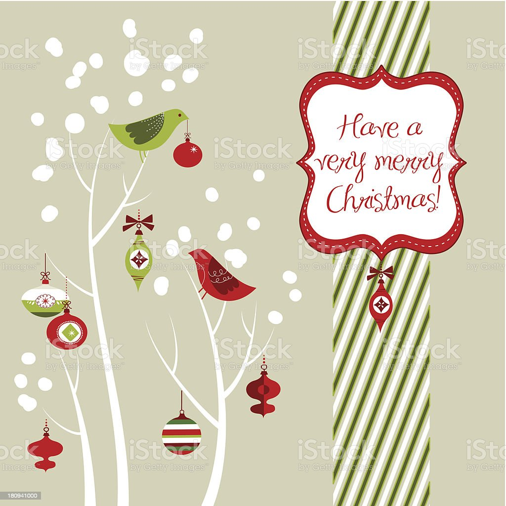 Retro Christmas Card Design Stock Vector Art & More Images of ...