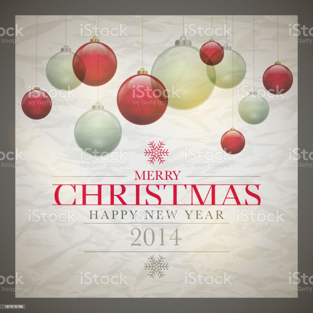 A retro Christmas card design with ornaments vector art illustration