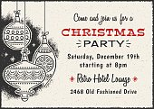 Retro Christmas card invitation with ornaments and copy space.  Illustrator file with live text paths is included and only free fonts are used.