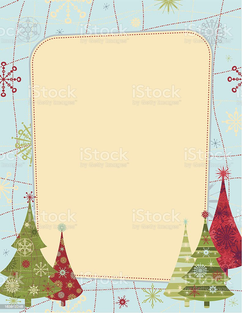 Retro Christmas card photo frame design template with trees royalty-free stock vector art