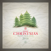 Vector retro Christmas card design template with wrinkled paper background.