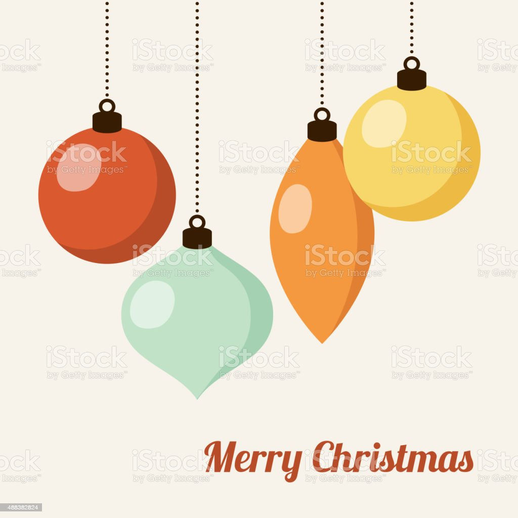 Retro christmas card with christmas balls, vector vector art illustration