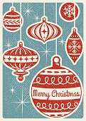 Retro Christmas card with ornaments and text.  Illustrator file with live text paths is included and only free fonts are used.