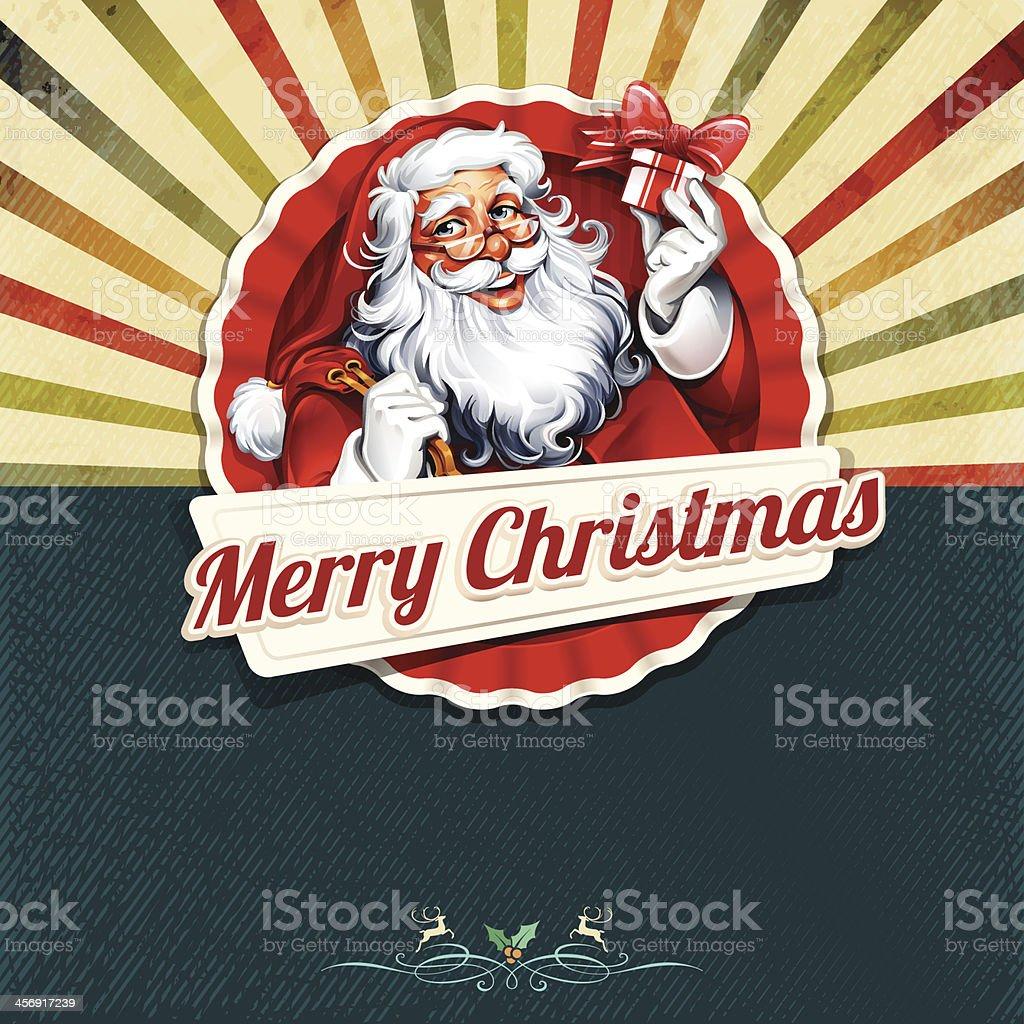Retro Christmas Frame vector art illustration