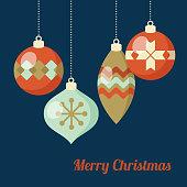 Retro Christmas greeting card, invitation. Hanging Christmas balls, baubles, ornaments.