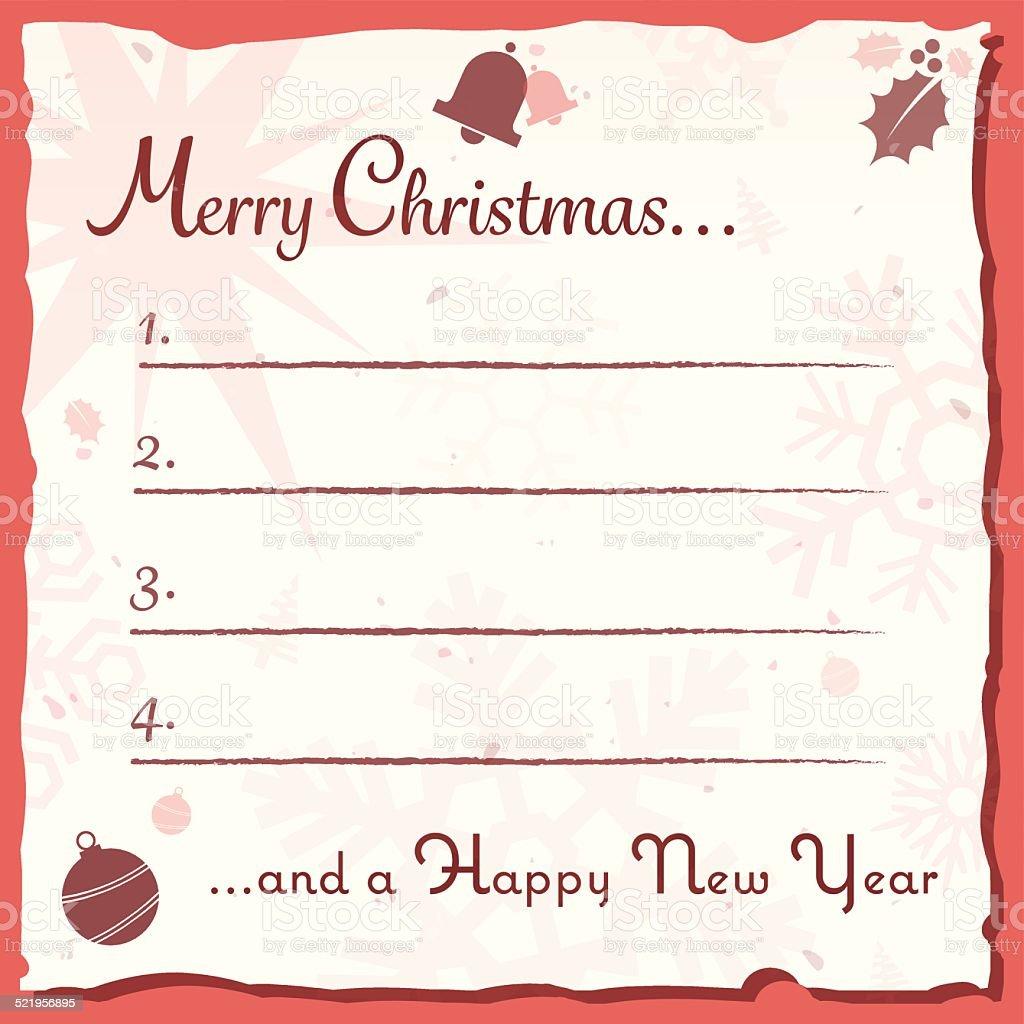 Lista Regali Natale.Vintage Biglietto Di Auguri Di Natale Con Regalo Lista