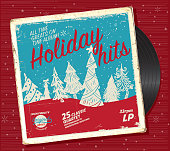 Retro Christmas or Holiday music record compilation design template. Includes sample text. Easy to edit.