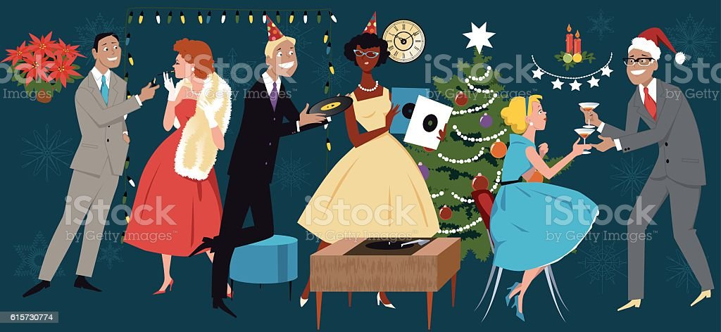 Retro Christmas party vector art illustration