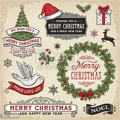 istock Retro Christmas Signs,Banners and Frames 519766003