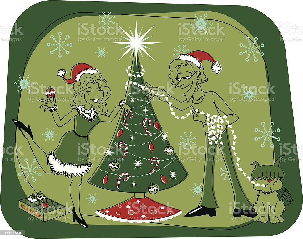 Retro Christmas Tree Decorating royalty-free stock vector art