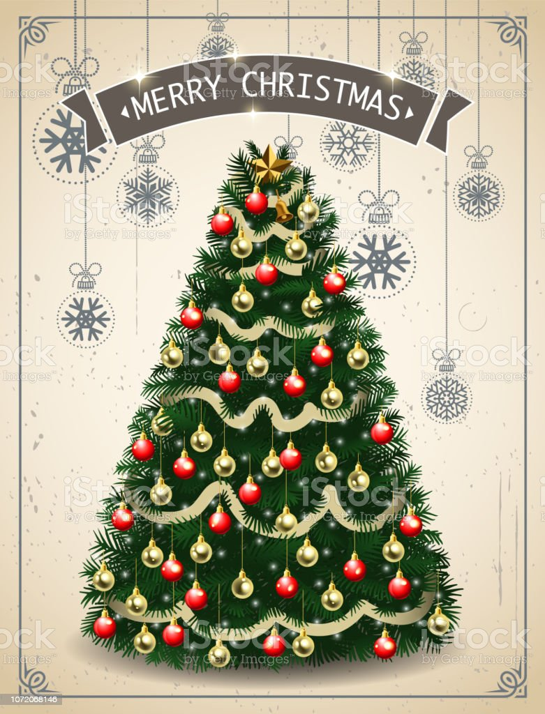 Retro Christmas Tree Stock Illustration Download Image Now Istock