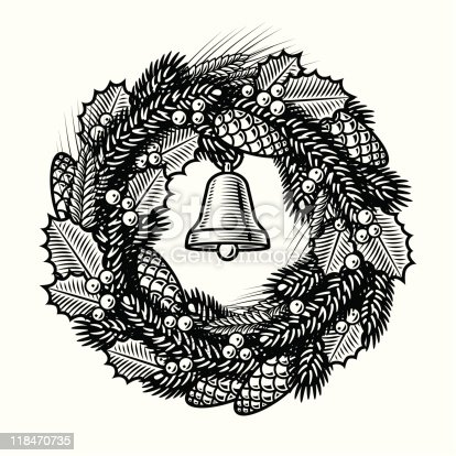 Retro Christmas wreath in woodcut style. Black and white vector illustration with clipping mask. Includes high resolution JPG.