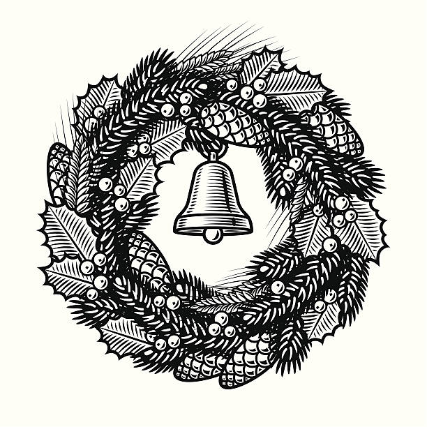 Royalty Free Retro Christmas Wreath Black And White Clip Art, Vector Images & Illustrations - iStock