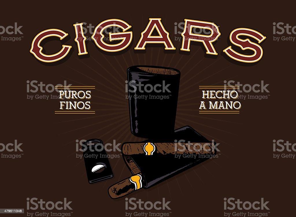Retro Cigar Advertisement vector art illustration