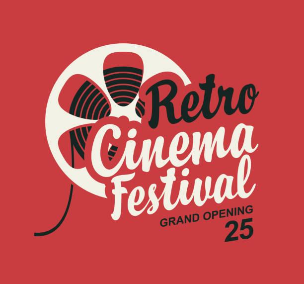 illustrations, cliparts, dessins animés et icônes de affiche festival cinéma rétro avec bobine de bande de film - cinéma