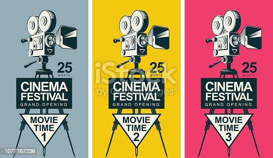 Set of three vector posters for cinema festival with old fashioned movie camera on the tripod in retro style. Can be used for flyer, ticket, poster, web page. Movie time 1, movie time 2, movie time 3