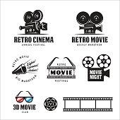 Retro cinema labels badges emblems and design elements set. 3d movie sign. Vector vintage illustration.
