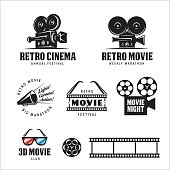 Retro cinema labels set. Vector vintage illustration.