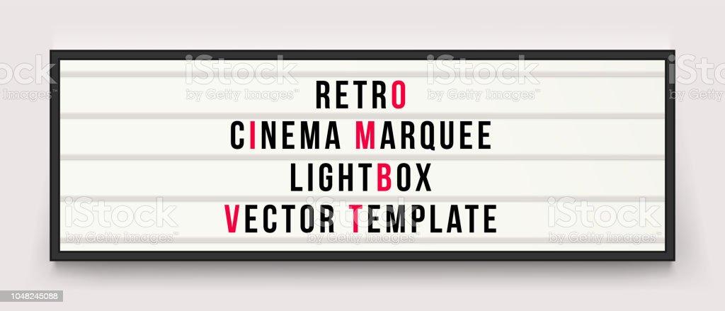 Retro cinema marquee or movie signage lightbox in frame vector template - arte vettoriale royalty-free di Affari