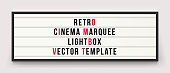 istock Retro cinema marquee or movie signage lightbox in frame vector template 1048245088