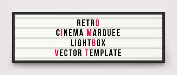 Retro cinema marquee or movie signage lightbox in frame vector template Retro cinema marquee or movie signage lightbox in frame vector template alphabet borders stock illustrations